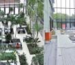 Links: Subtropische Pflanzen sorgen im Atrium der Baader Bank AG in Unterschleißheim für entspannte Stimmung (Foto: Dachtechnik Suchhardt). Rechts: 13 Pflanzentröge müssen dauerhaft wasserdicht sein. (Foto: Triflex)