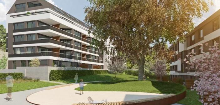 Die Visualisierung zeigt die geplanten Wohngebäude in Stuttgart-Bad Cannstatt. - © Wüstenrot Haus- und Städtebau