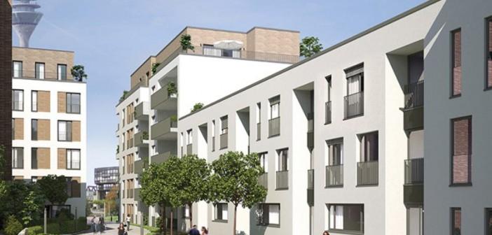 In Düsseldorf entstehen 84 Wohnungen, vier Stadthäuser und zwei Gewerbeeinheiten. - © BGS