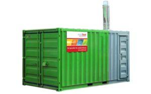 Die mobile Heizzentrale MHP300 mit integriertem Brennstoffbehälter. - © Mobiheat
