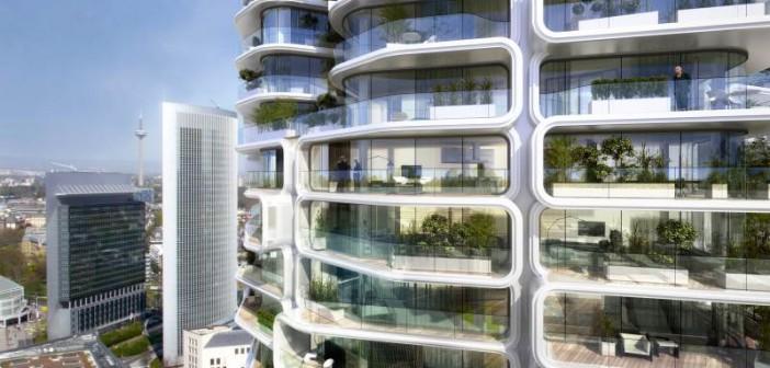 Mit 47 Stockwerken und rund 340 Wohneinheiten entsteht in Frankfurt Deutschlands höchstes Wohnhochhaus. - Grafiken: © Magnus Kaminiarz & Cie.