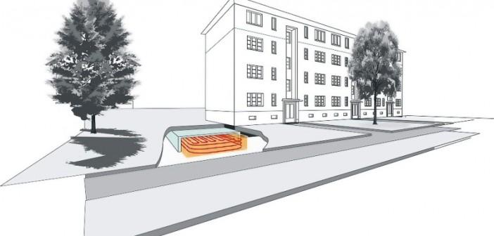 Der vor dem Gebäude liegende E-Tank ist ein nach unten offener Saisonspeicher, der auf Basis der offenen oszillierenden Pufferspeicher- Technik arbeitet. - Foto: © E-Zeit