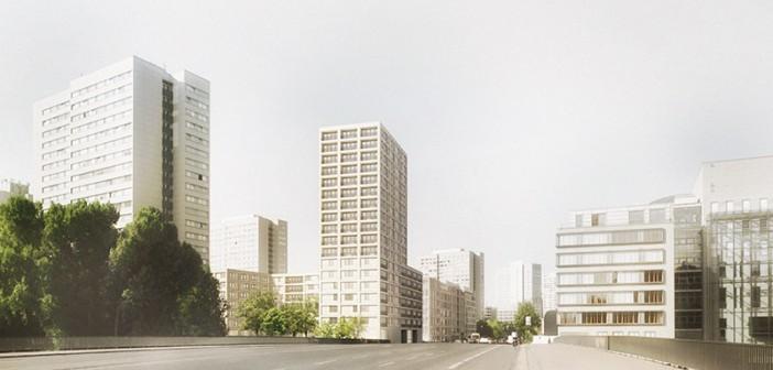 Fischerinsel: Die Architekten möchten den von Plattenbau-Hochhäusern geprägten Stadtraum komplettieren. - © DMSW, Berlin