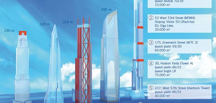 Fünf Beispiele aus insgesamt 17 aktuellen Bauprojekten in New York: Allein in diesen fünf Skyscrapern werden mehr als 200.000 Quadratmeter Sonnenschutzglas von AGC Interpane eingesetzt. - Bild: © Interpane