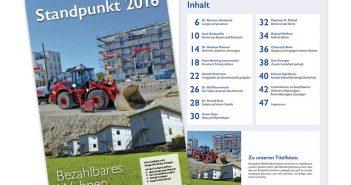 """Titel und Inhalt """"Standpunkt 2016: Bezahlbares Wohnen"""" - ein Leitfaden zum konsequenten Umdenken."""