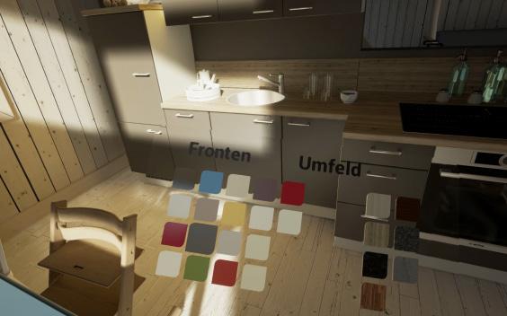 Im virtuellen Showroom kann der Nutzer Wohnungen oder Häuser in einer lebensechten Simulation betrachten. Je nach Programmierung lässt sich sogar die Einrichtung direkt verändern.