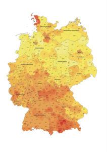 BKI-Baukosten-Regionalfaktoren für Deutschland: Je dunkler, umso teurer sind die Baukosten.