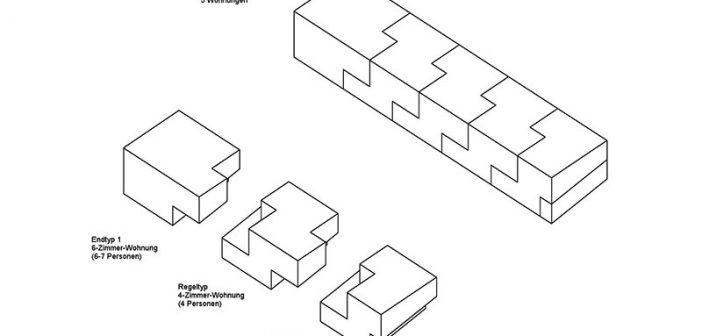 """Dank der Verschiebung des Obergeschosses um circa vier Meter verringert das """"BV-Lb-Modell"""" den Anteil der Verkehrsflächen auf 14 Prozent. Dies ermöglicht eine optimale Ausnutzung der Wohnflächen und damit einen niedrigen Quadratmeterpreis für die Bruttogeschossfläche von rund 1.000 Euro."""
