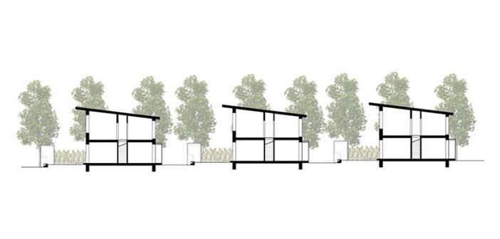 """""""BV-Lb-Modell"""" verändert sozialen Wohnungsbau: An die Stelle der üblichen Mehrgeschossbauten treten nicht-unterkellerte Reihenmiethäuser – bestehend aus Erd- und 1. Obergeschoss. Gegenüber Massenunterkünften verfügt jede Wohnung über einen separaten Eingang und einen kleinen Garten."""