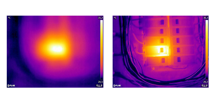 """Abb. 1: Auf dem nicht fokussierten Bild (links) ist nur eine diffuse """"Wärmewolke"""" erkennbar. Das fokussierte Bild (rechts) zeigt deutlich, welches Objekt betrachtet wird, und wo es warm ist."""