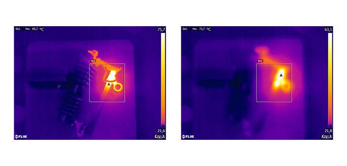 Abb. 2: Fokussiertes Wärmebild (links) mit Maximaltemperatur Tmax=89,7 °C und nicht fokussiertes Wärmebild (rechts) mit Maximaltemperatur Tmax = 73,7 °C.