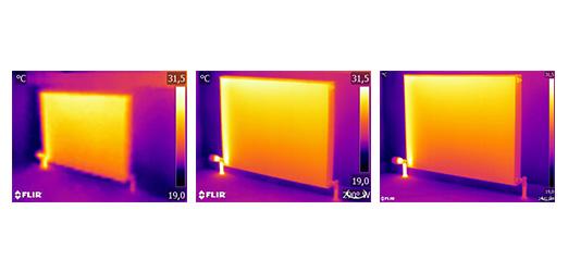 Abb. 3: Derselbe Heizkörper aus derselben Entfernung mit denselben Einstellungen, aufgenommen mit drei verschiedenen Wärmebildkameras: FLIR C2 (links), FLIR T440 (Mitte) und FLIR T640 (rechts).