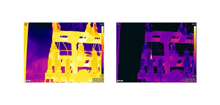 Abb. 8: Wärmebild im automatischen Modus (links) und im manuellen Modus (rechts). Das angepasste Temperaturintervall erhöht den Kontrast im Bild und lässt die Fehlstelle deutlich werden.