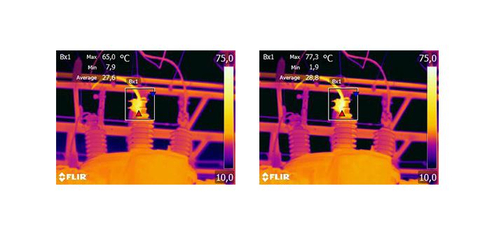Abb.11: Ändern des Emissionsgrads am gespeicherten Bild. Die Maximaltemperatur beträgt im linken Bild 65,0 Grad Celsius bei e=0,95 und im rechten Bild 77,3 Grad Celsius bei e=0,7.