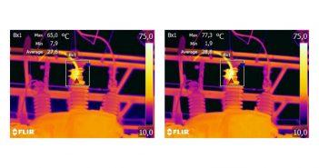 Ändern des Emissionsgrads am gespeicherten Bild. Die Maximaltemperatur beträgt im linken Bild 65,0 Grad Celsius bei e=0,95 und im rechten Bild 77,3 Grad Celsius bei e=0,7. - alle Bilder: © Flir Systems