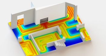 Die Simulation der Wärmeströme in einem Verteilerraum: Hier ohne x-net connect Installationssystem. - Bild: Kermi